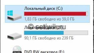 Заполнен диск C
