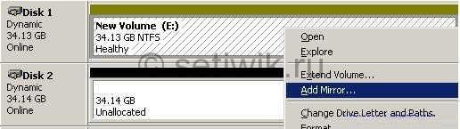 добавить Зеркало, что позволит создать программный Raid 1