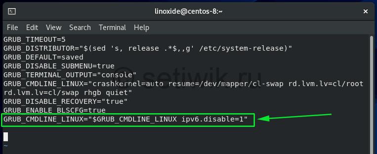 Отключите IPv6 на CentOS 8 с помощью параметров ядра