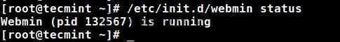 Проверка Статуса Вебмина после установки