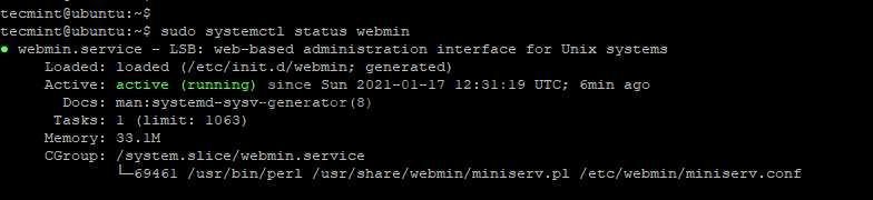 Проверка статуса Webmin в Ubuntu