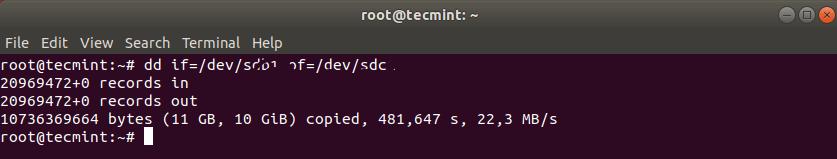 Клонирование раздела Linux с помощью команды dd
