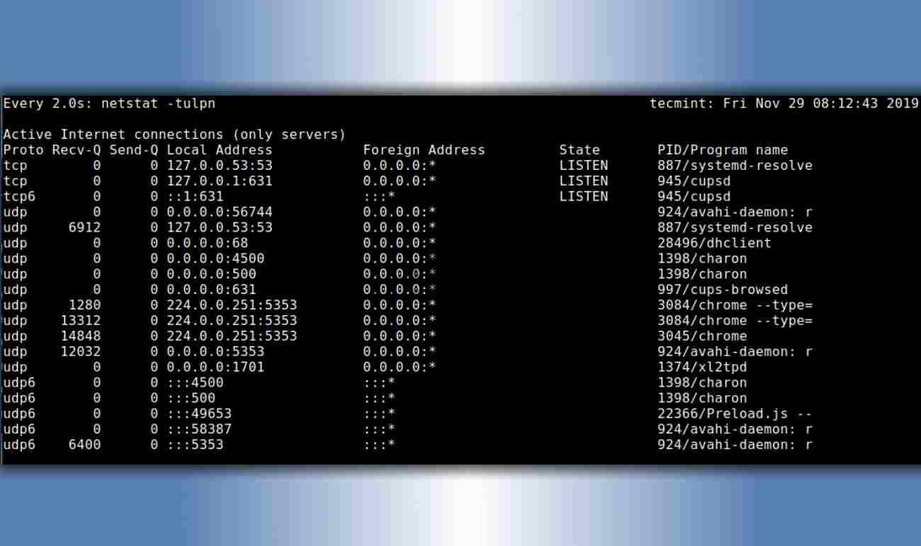 Просмотр открытых портов TCP и UDP в режиме реального времени