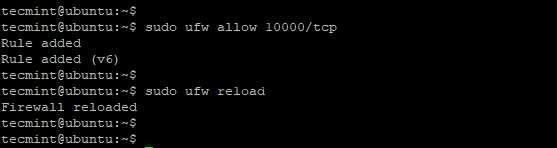 Откройте порт Webmin в Ubuntu