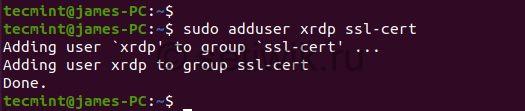 Добавить пользователя Xrdp в группу SSL
