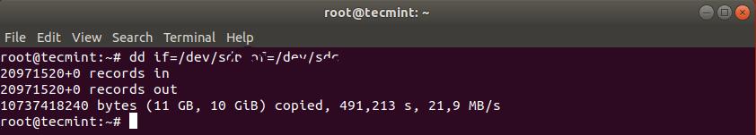 Клонирование жесткого диска в Linux
