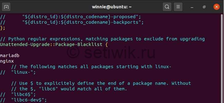 Отключение автоматического обновления для отдельных пакетов