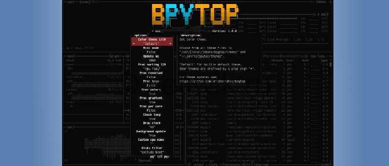 Инструмент мониторинга ресурсов BpyTOP для Linux