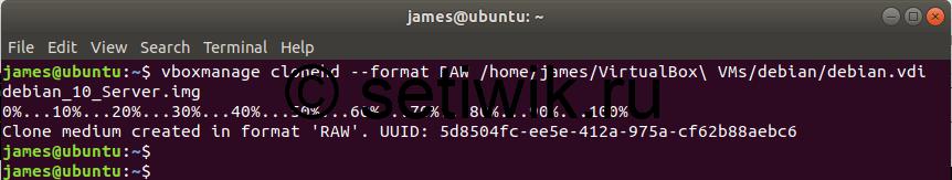 преобразование образа VDI в формат RAW диска