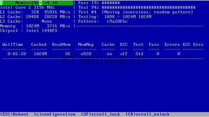 Программа для тестирования оперативной памяти MemTest86