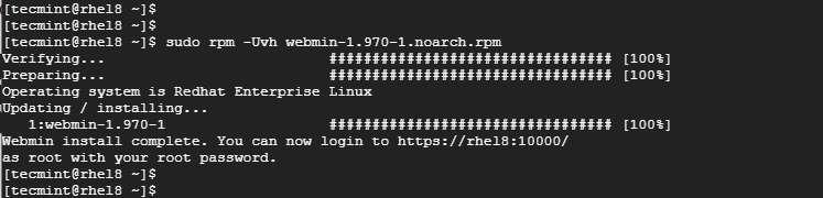 Установка Webmin на RHEL 8