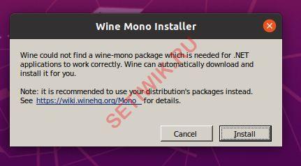 Установка wine mono package