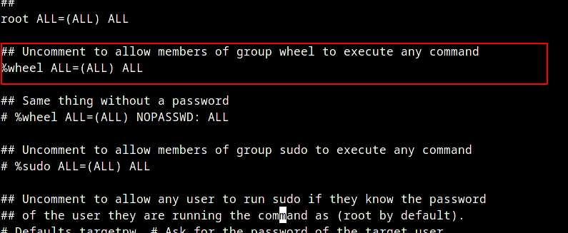 Раскомментируйте файл Sudoers в Arch Linux