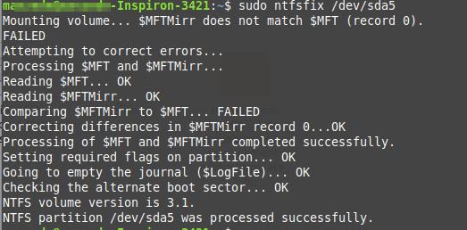 Исправление ошибки не удалось смонтировать NTFS