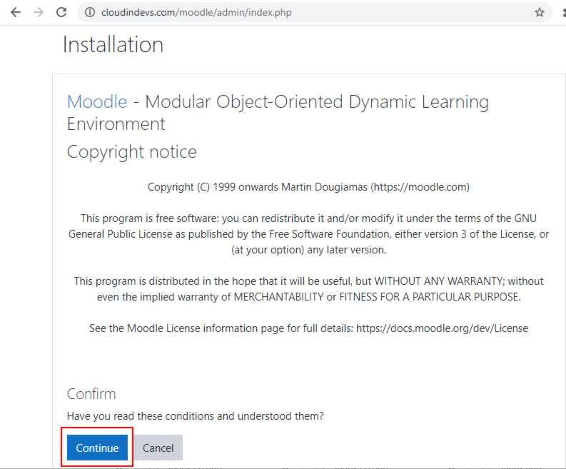 Страница установки Moodle web
