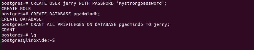 Настройка базы данных для PhpPgAdmin