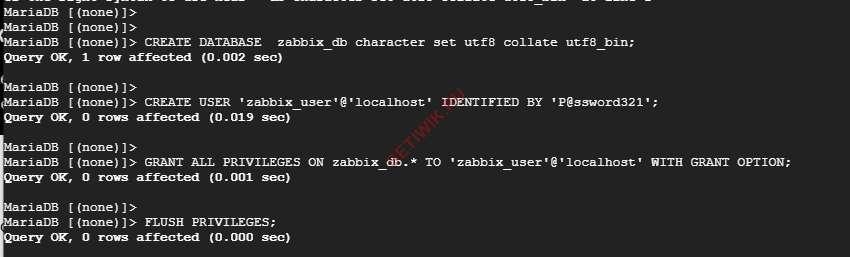 Создайте пользователя Zabbix и базу данных