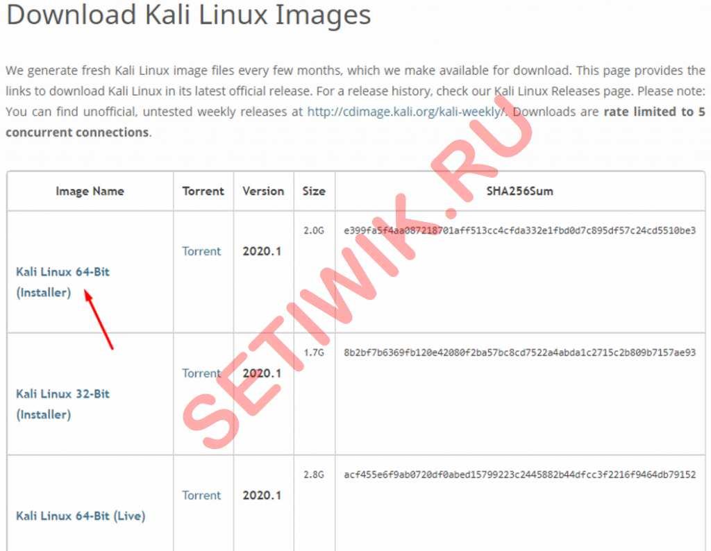 Загрузка ISO Kali Linux