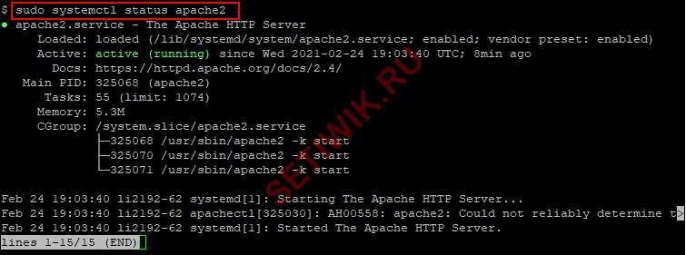 Проверка состояния сервера Apache