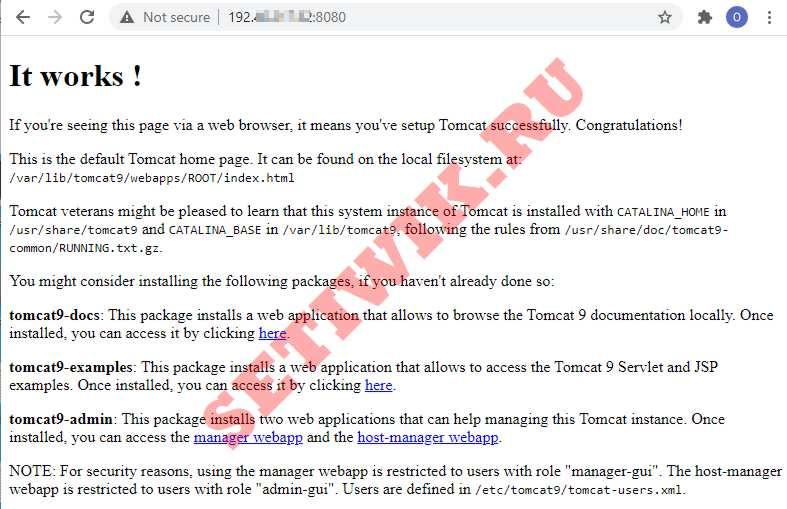 Домашняя страница Tomcat по умолчанию