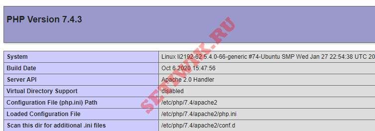 Тест Apache2 PHP обработка