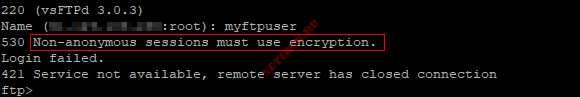 Ошибка FTP без TLS