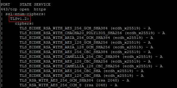 Проверка поддержки TLS с помощью инструмента nmap