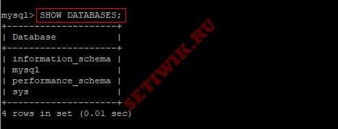 Показать базы данных MySQL
