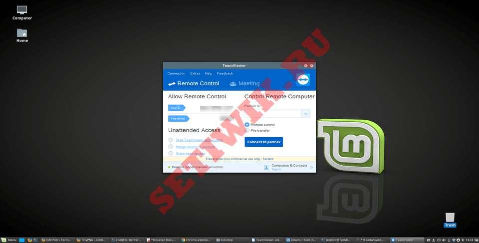 TeamViewer работает на Linux Mint 20
