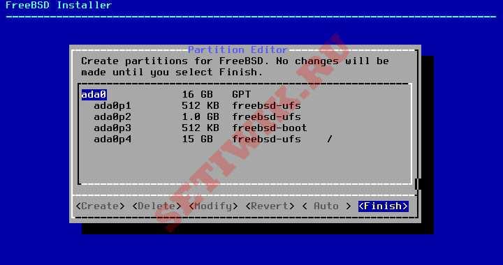 Разделы диска FreeBSD