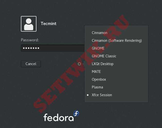 Выберите LXQt при входе в систему Fedora