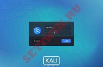 Экран входа в систему Kali Linux