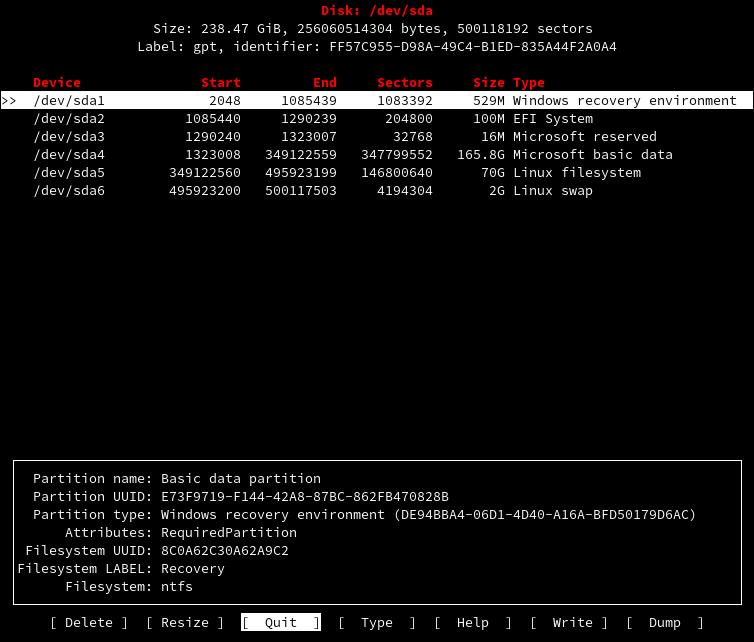 Команда для просмотра дисков в Linux cfdisk