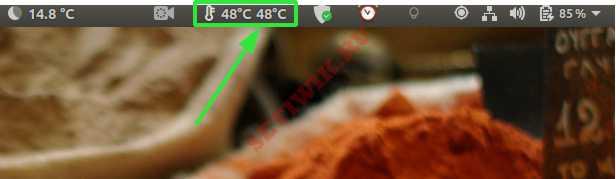 температурная метка Psensor для меню