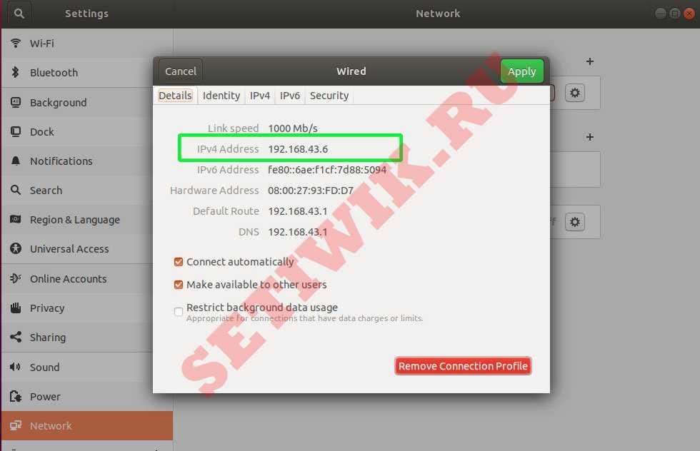 """На вкладке """"Сведения"""" отображается IP адрес системы"""