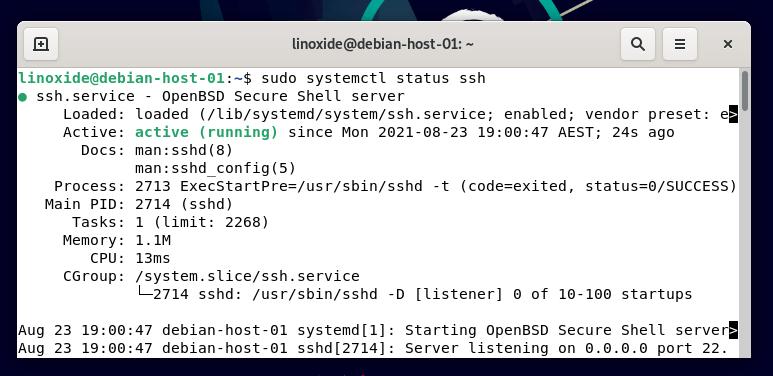 Проверка установки SSH на Дебиан