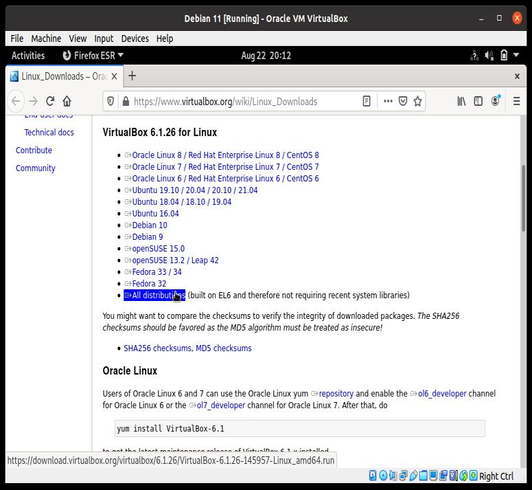 Скачивание VirtualBox для Debian