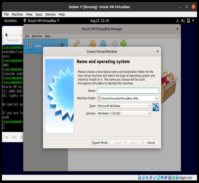 Установленный VirtualBox на Debian 11