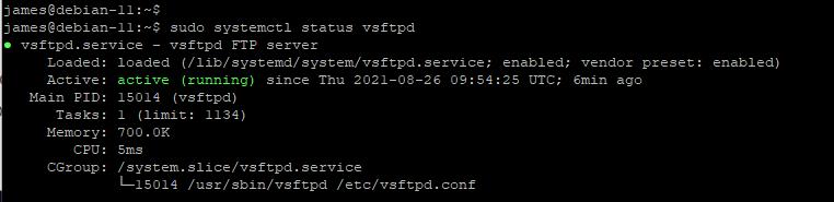 Проверка службы vsftpd в Debian 11