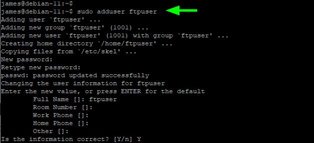 Создание пользователя FTP в Debian 11