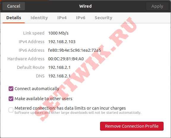 Описание вашей текущей конфигурации IP адреса