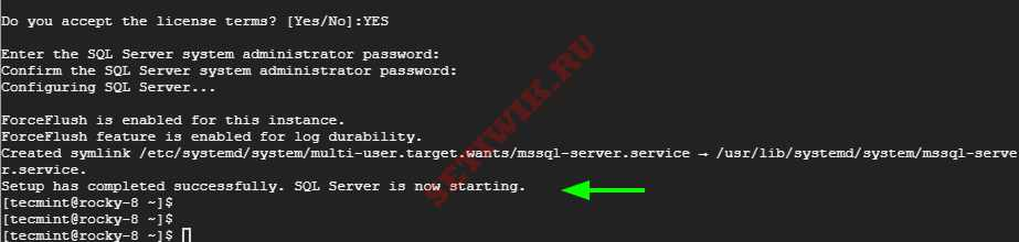 Настройка SQL Server в Линукс Завершена